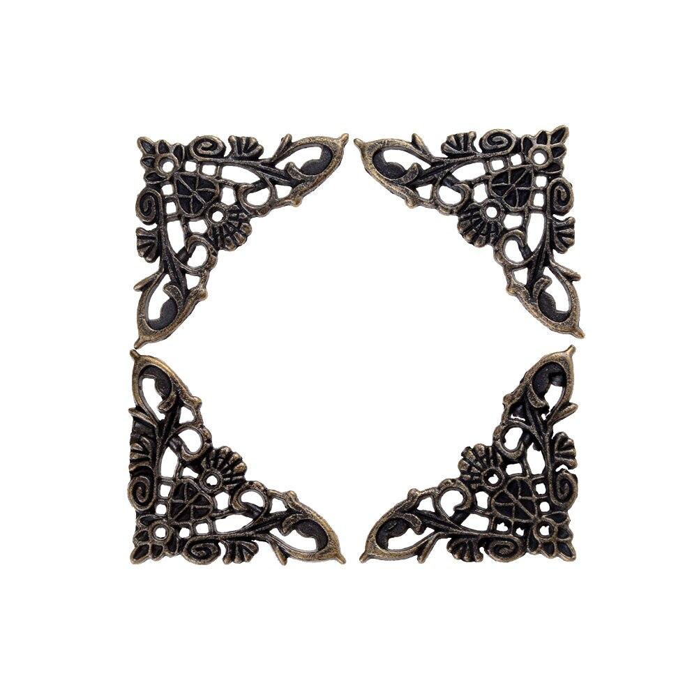 4PCS Bronze Jewelry Box Book Butterfly Corner Bracket Antique Frame Accessories Notebook Menus Decorative Protector