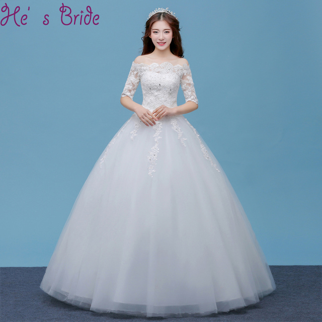 Wedding Dress The Bride White Simple Half Sleeves A line Lace Flower ...