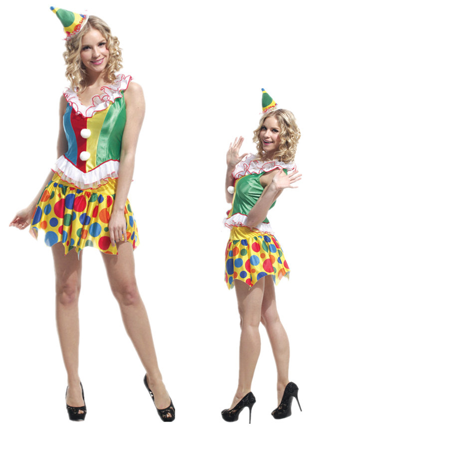 Halloween Purim Carnival Costume Adult Woman Circus Variety Funny Clown Suit  Harley Quinn Cosplay Clothing Woman Joker Costume