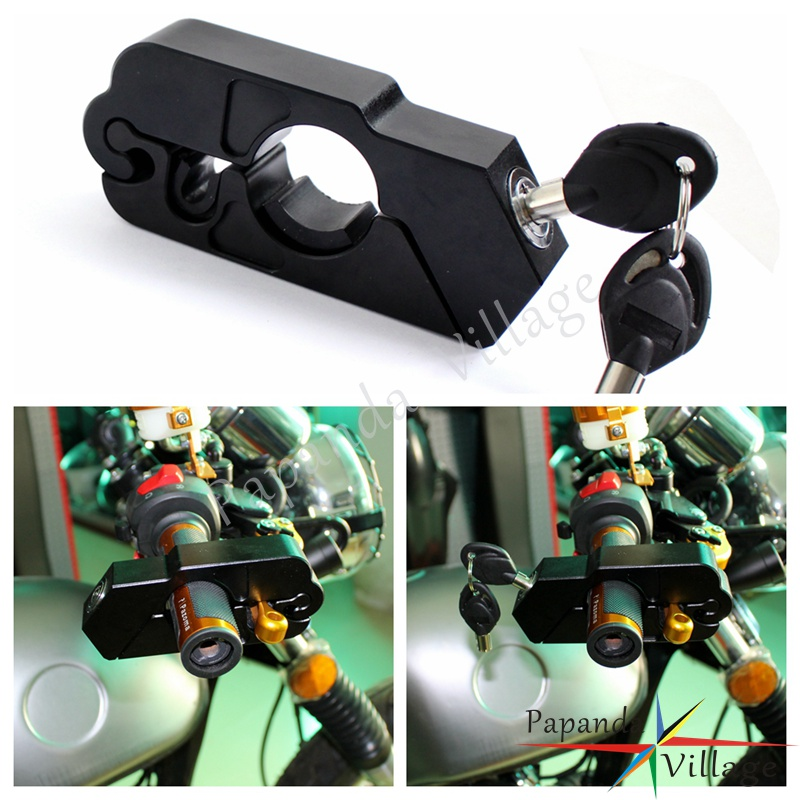 Papanda Motorcycle Black Brake Handlebar Grip Locks ATV Scooter Theft Protection Security Lock For BMW Ducati Honda Ducati