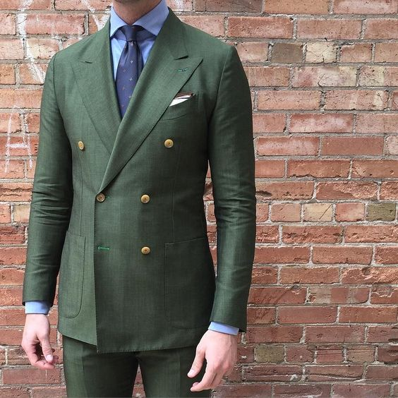 Aliexpress.com : Buy Double Breasted Green Men Suits Terno Slim ...