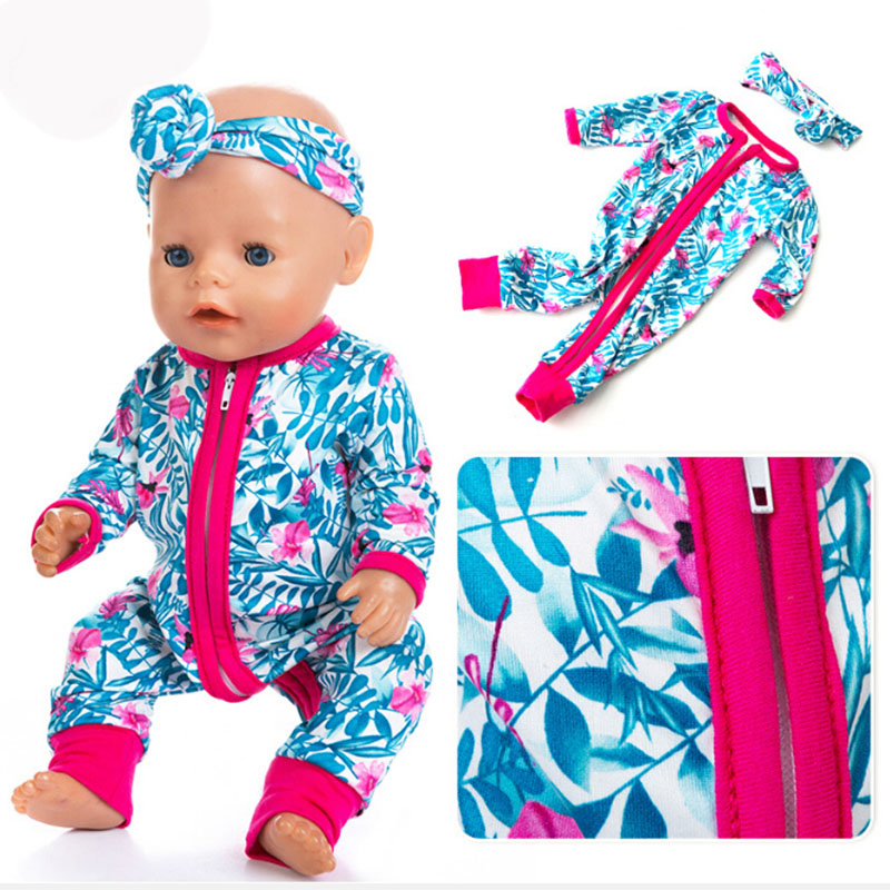 Rompers Jumpsuits+Hairbrand Doll Clothes Fit For Doll Clothes Born Baby Fit 17 Inch 43cm Doll Accessories