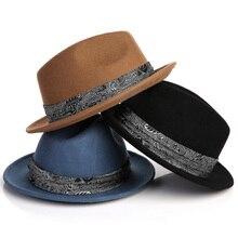 Brand black wool felting Fedora Hat for men vintage Wide Brim jazz hat sombrero panama caps Gentleman England style