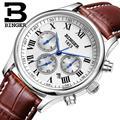 Suíça relógios homens marca de luxo relógios de pulso binger b6036-2 mecânica relógios de pulso com pulseira de couro à prova d' água