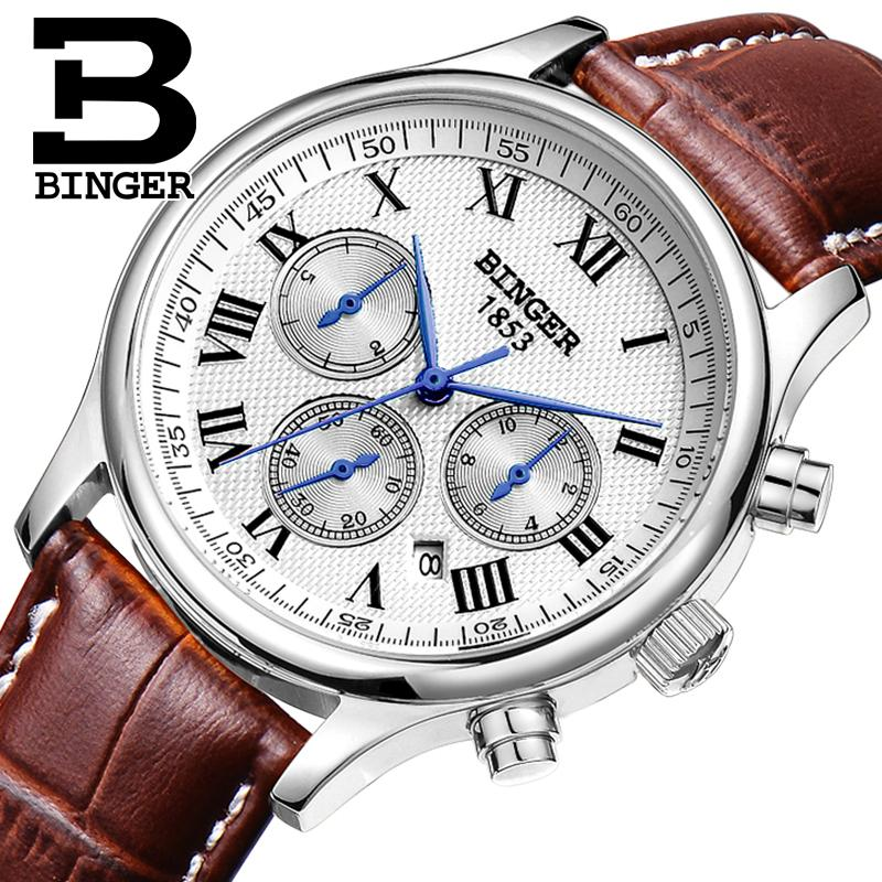 Wrist Switzerland Automatic Mechanical Men Watch Sapphire Waterproof Mens Watches Top Brand Luxury Military Reloj Hombre B6036 switzerland men watch automatic mechanical binger luxury brand wrist reloj hombre men watches stainless steel sapphire b 5067m