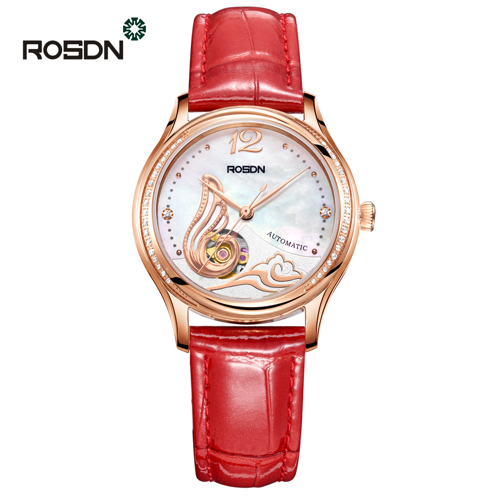 ROSDN Rose Gold Women Watch feminine Fashion Skeleton Automatic Mechanical Watches Top Brand Clocks Elegant Ladies Wrist Watch