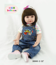 22 inches bebe rebirth silicone doll newborn children's Christmas present action simulation baby doll toys  Denim doll