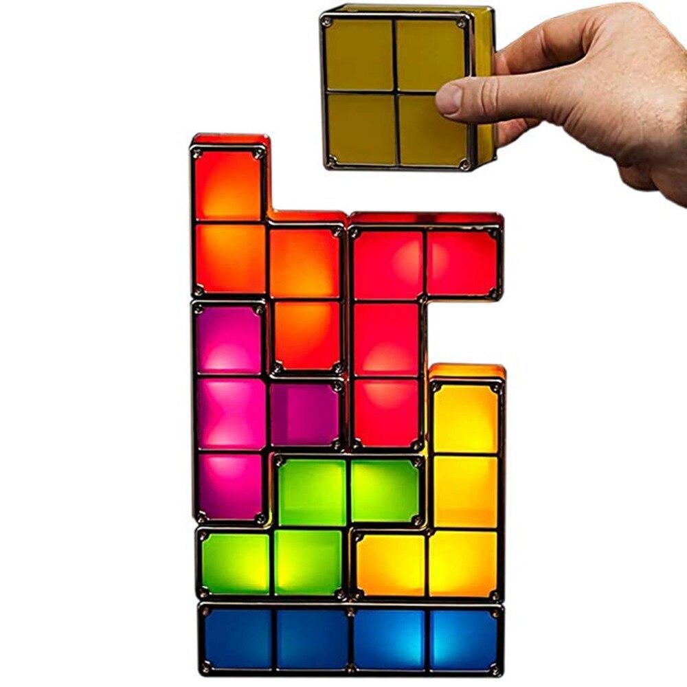 Dropship Upgrade DIY Tetris Night Light Colorful Stackable Tangram Puzzles 7 Pieces LED Induction Interlocking Lamp