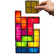 Прямая поставка обновления DIY тетрис ночник красочные стекируемые Tangram головоломки, 7 штук Светодиодный индукции переплетенных лампа 3D игрушки подарок