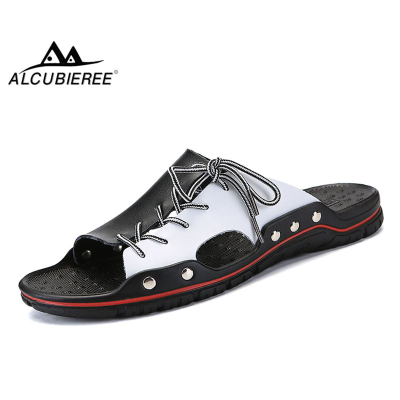 ALCUBIEREE Summer Cool Slippers Mens Fashion Beach Shoes Men Flip Flops Casual Sandals Male Outdoor Slipper Big Size Shoes 47 48