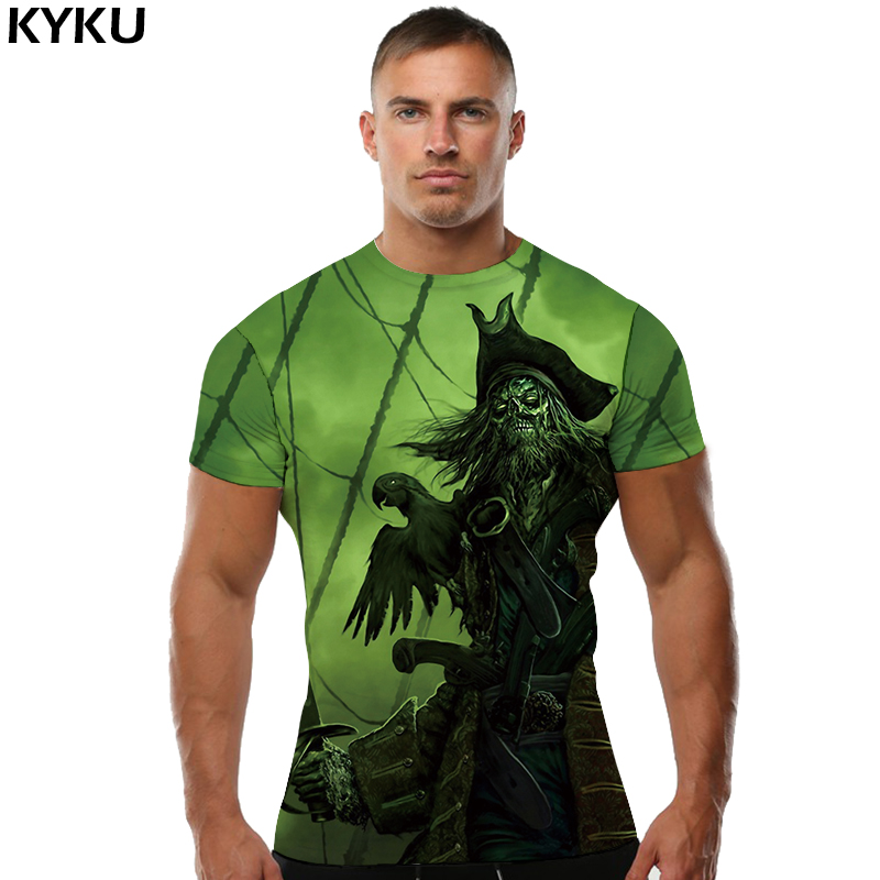 KYKU Skull   T     Shirt   Men Devil Pirate Tshirt Punk Rock Clothes Green 3d Print   T  -  shirt   Gothic Mens Clothing 2018 New Summer XS-8XL