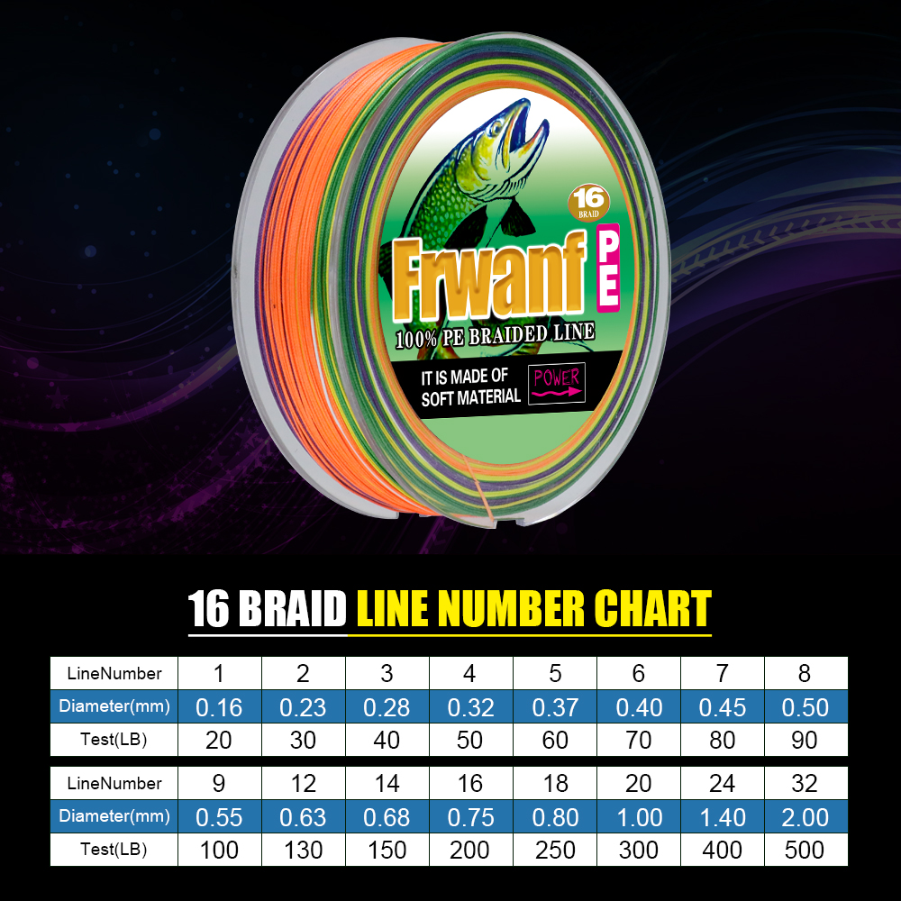 все цены на Frwanf 16 Braid Braided Fishing Line Braided 500M Japan 16 Strand Strong Hollowcore Sea Fishing Woven Thread 20LB 300LB 500LB онлайн