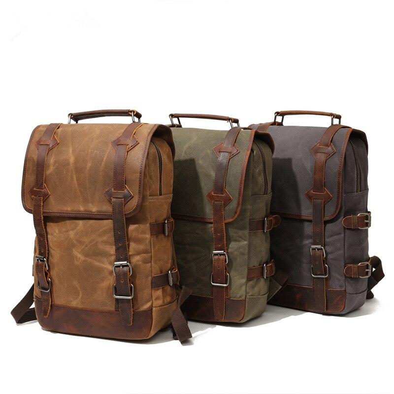 Imperméable à l'eau toile cirée sac à dos hommes sacs à dos loisirs sac à dos voyage sac d'école sacoche pour ordinateur portable hommes vintage sacs à bandoulière