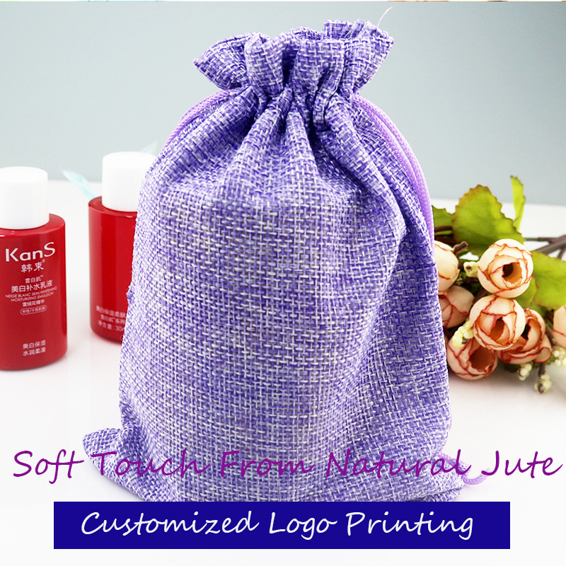 High quality 100 pcs lot 13 18cm Linen Fabric Jute Drawstring Gift Bags package bag Purple