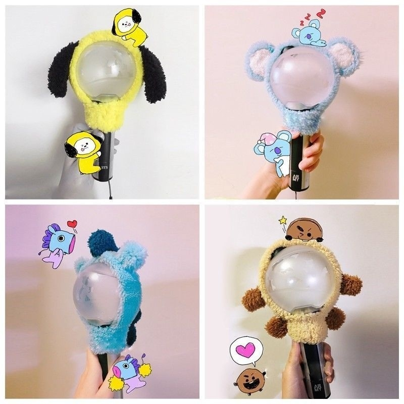 KPOP Bangtan Boys BTS BT21 Chimmy Shooky Koya Mang COOKY Light Stick Case Plush Head Cover Headband LightStick Fashion