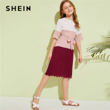 SHEIN Kiddie Girls Cut And Sew Scallop Trim Tunic Dress With Belt Kids 2019 Summer Half Sleeve Colorblock Midi Casual Dresses scallop crochet trim flounce bardot top