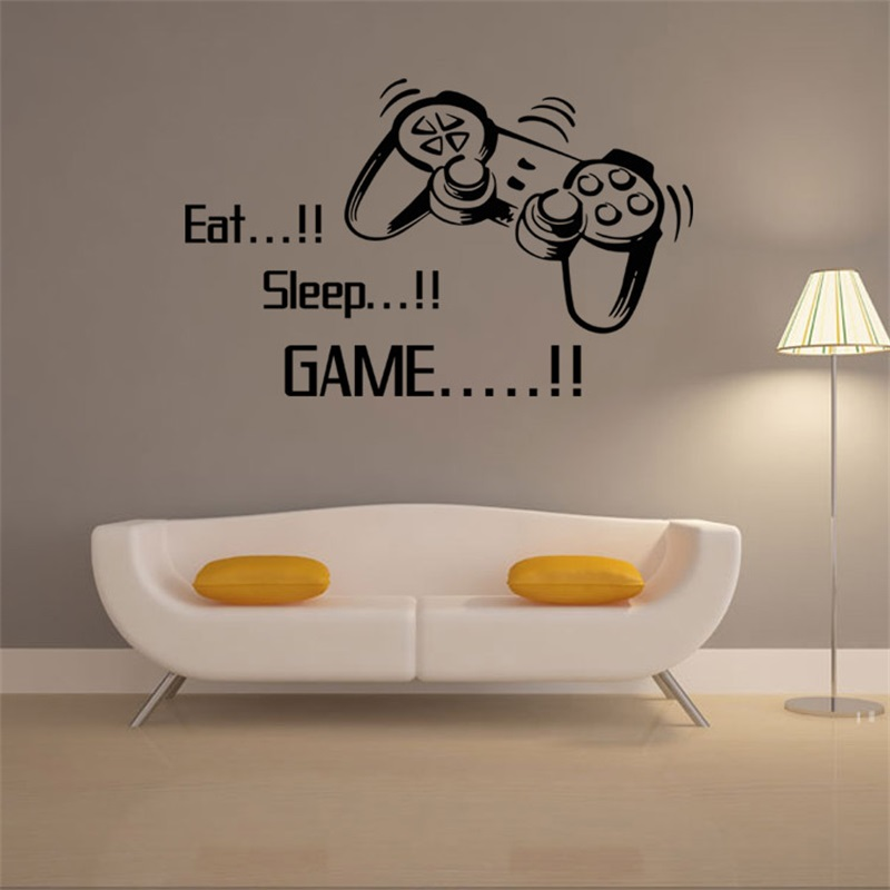 Play Game Wall Sticker Eat Sleep Game Quote Posters Video Game Art Wallpaper Vinyl Wall Decal for Boys Room Play Room Decoration
