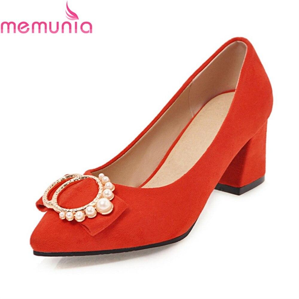 MEMUNIA Famle Pumps Women Shoes Med Heel Bridal Shoes