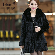 The new Ms. long section of real fur coat rabbit fur coat fashion hooded long section