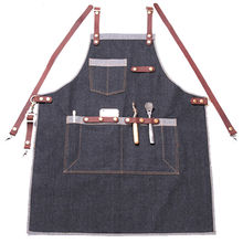 Black Blue Denim Long Apron w/ Leather Strap Barber Barista Florist Cafe Bar BBQ Chef Uniform Florist Carpenter Work wear K23