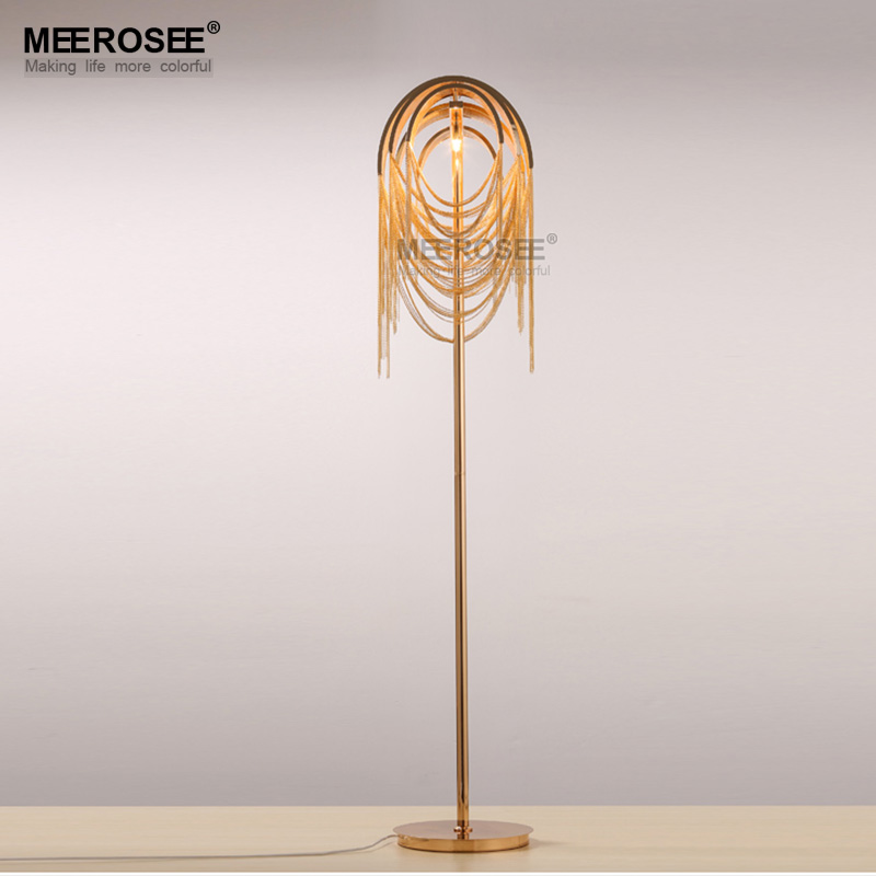 American Style Aluminum Chain Floor Light Fixture Gold Color Standing Lamp Lustre for Reading Room Bedroom Hotel Cafe