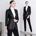 Овчины натуральной кожи куртка пальто женщин черный цвет OL отложным Воротником одежда женский Тонкий Одной Кнопки Дизайн Куртка