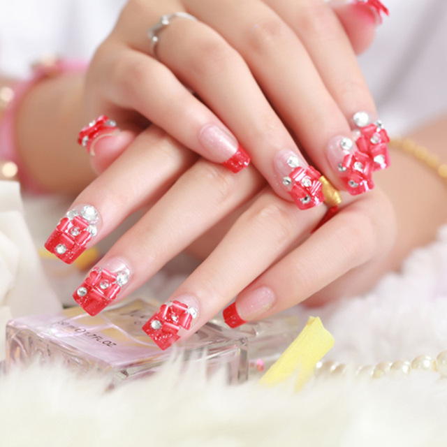 hot red bridal nail art patch
