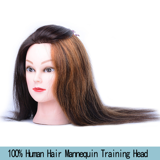 Free Shipping 100 Human Hair Mannequin Training Head 16