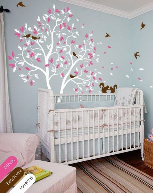 White Tree Wall Decal Pink Leaves Squirrel Nursery Wall Decal Kids Room  210cmX143cm