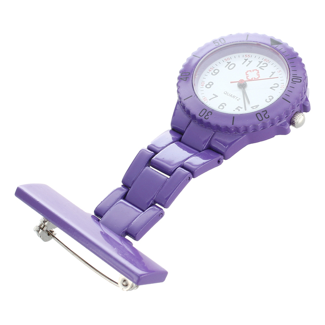 Purple Quartz Movement Nurse Brooch Fob Tunic Pocket Pendant Watch