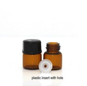 Image 5 - 100 sztuk 1ml 2ml 3ml 5ml Drams butelka szklana bursztynowa z plastikowa pokrywka wkładka olejku szklane fiolki perfumy próbka Test butelka