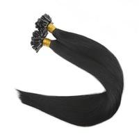 Полный блеск предварительно связаны подсказка волос Цвет #1 Jet Black 1 г/strand 50 г 100% реми Пряди человеческих волос для наращивания U Совет волос