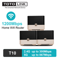 TOTOLINK Wireless Wifi Router Mesh WiFi Extender Repeater with Gigabit Ports Dual Band Internal Antenna Long Range 3 Pieces T10