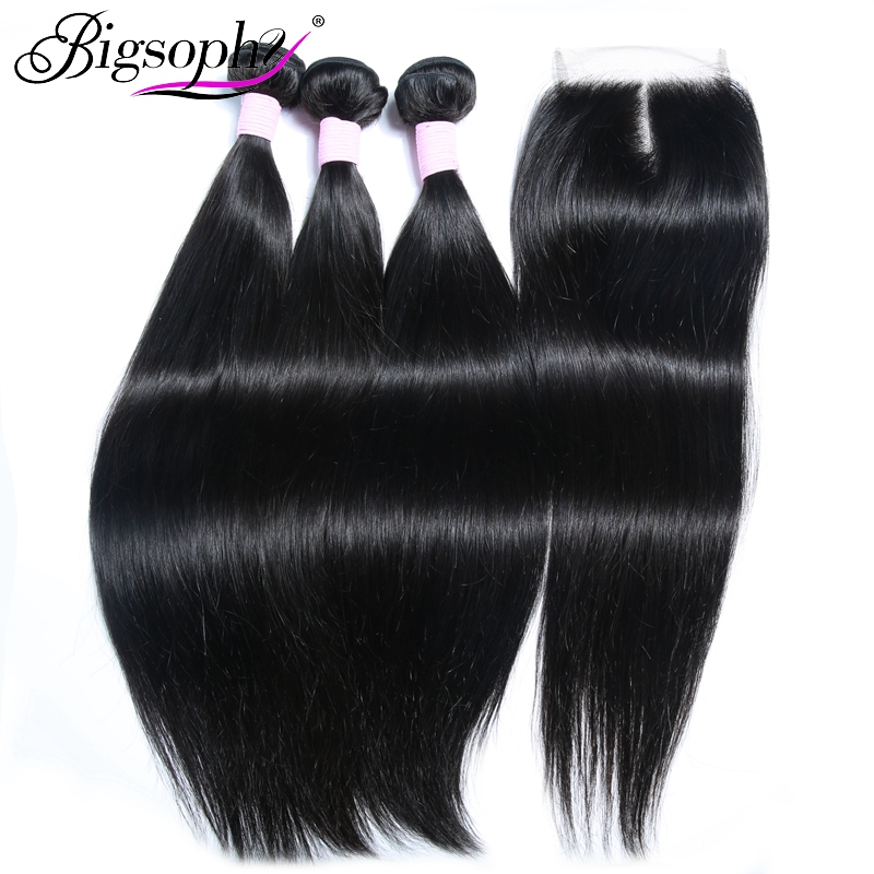 Bigsophy Straight Indian Hair Weave 3Bundles With Closure Human Remy Hair Extensien With Lace Closure Middle