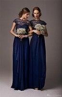 Дешевый темно синий кружевное платье подружки невесты длинные пол Сексуальная Иллюзия рубашка с короткими рукавами шифон галстук бабочка