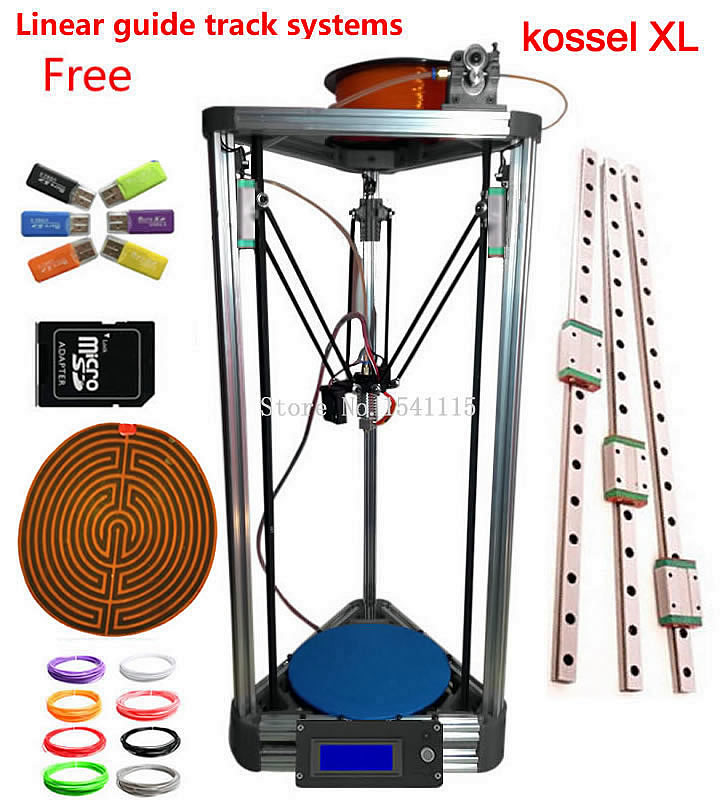 silver 3d Printer Kossel xl MEGA2560 With Lcd Rostock Reprap kossel k800 xl 3d Printer kit flsun 3d printer big pulley kossel 3d printer with one roll filament sd card fast shipping