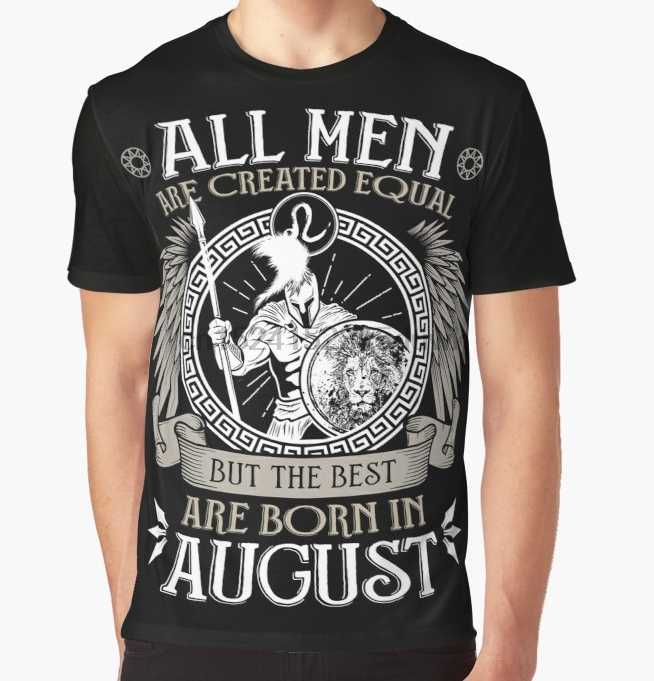 All Over Print T-Shirt Men Funy tshirt All Men are Created Equal but Only the Best are Born in August Leo T-shirt Short