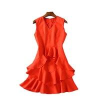 Ky Q Spring Summer New Women Sexy Deep V Neck Red Ruffles Dresses Sleeveless Slim Waist