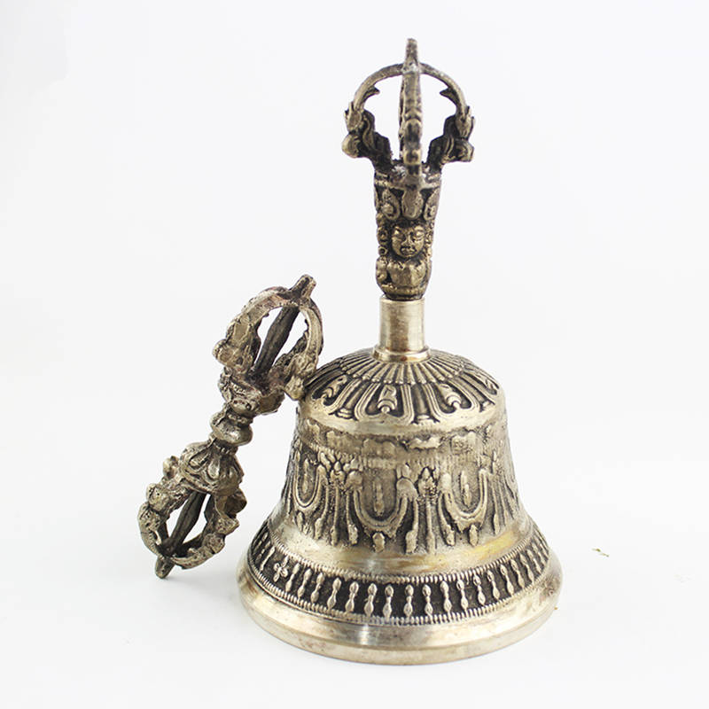 TBC913 Tibetan Buddhist Handicraft Singing Bell with Dorje Vajra Yoga Mediation Music Instrument 5'' 6'' tibetan yoga of movement