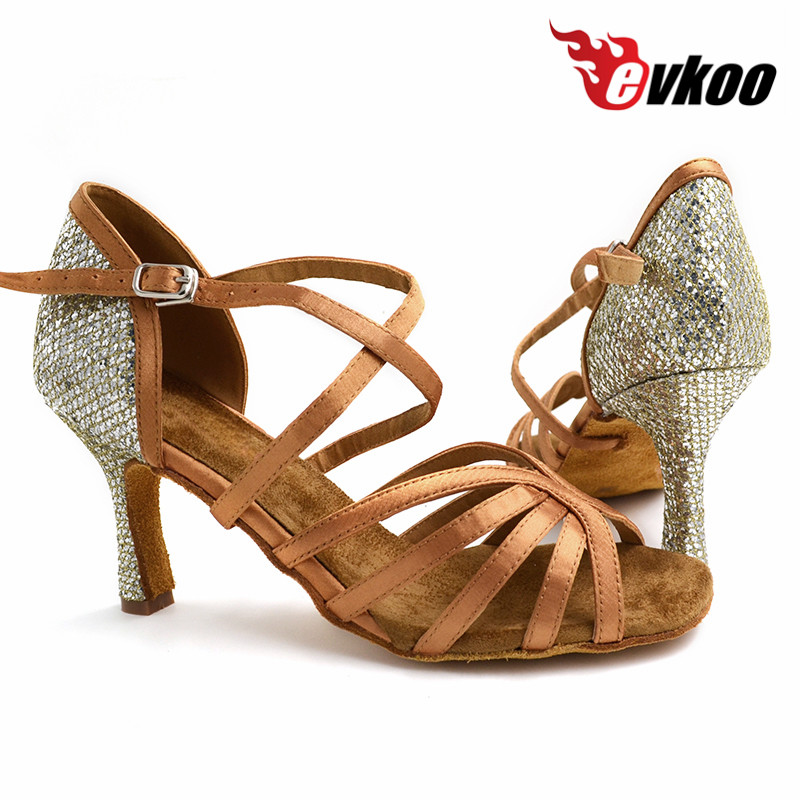 2017 Nouveau Evkoodance US11 grande taille filles Tan couleur argent talon 5.5 cm 6 cm 8 cm femme chaussures de danse latine Evkoo-460