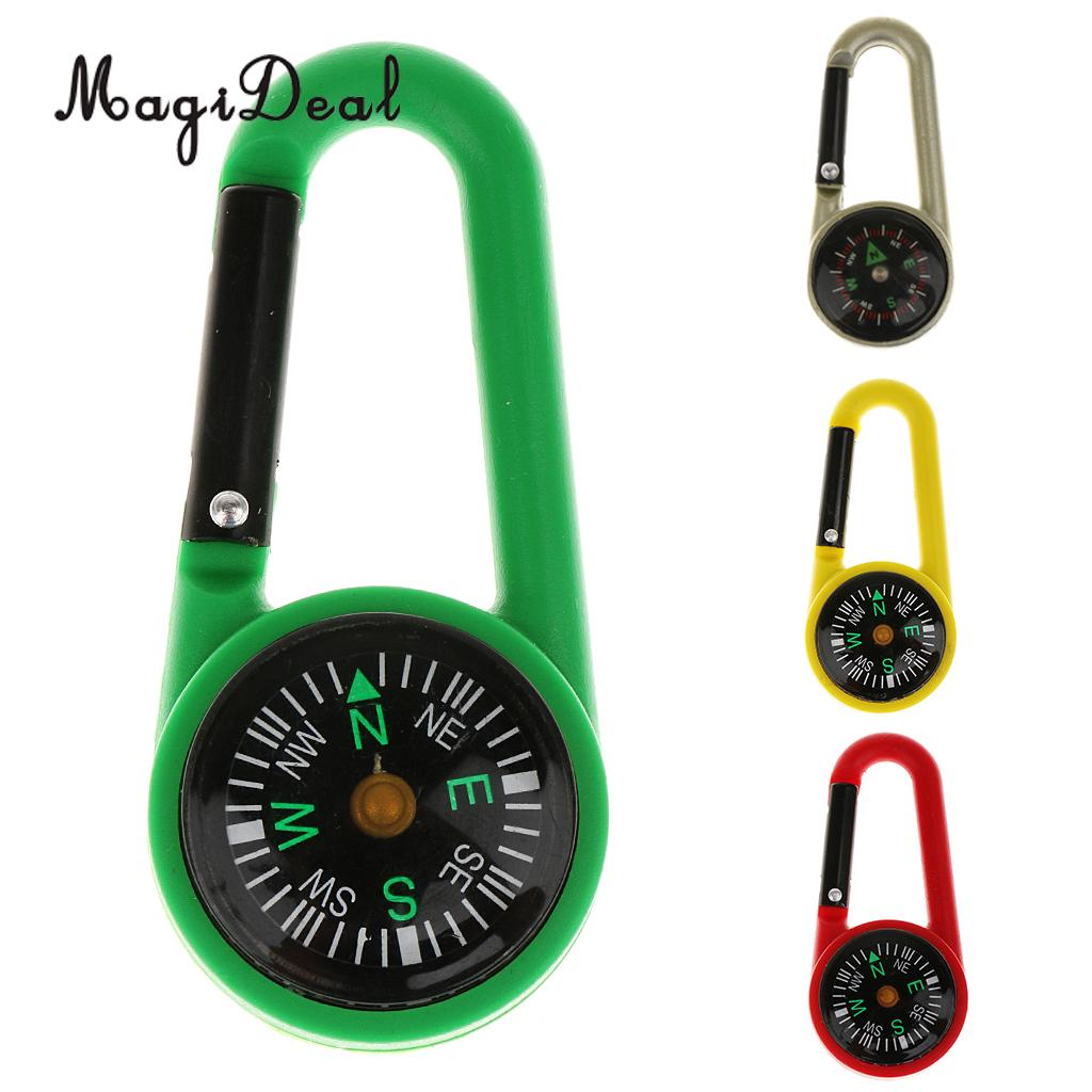 MagiDeal 2 in 1 Multifunctional Camping Hiking Carabiner Mini Compass Keyring Precision Safety Outdoor Travelling Guiding Access mini kompas sleutelhanger