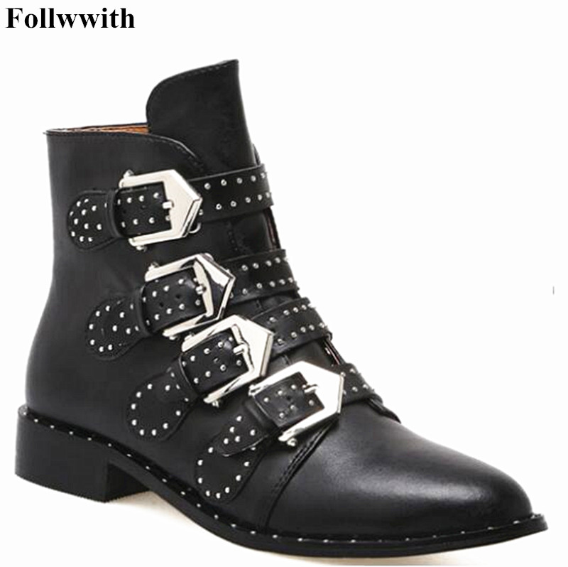 Fashion Rhinestone Stud Genuine Leather Motorcycle Boots Women Ankle Boots Famous Designer Woman Flats Punk Zapato Mujer taoffen genuine leather motorcycle boots biker shoes women suede pointed snow boots brand shoe famous designer woman flats punk