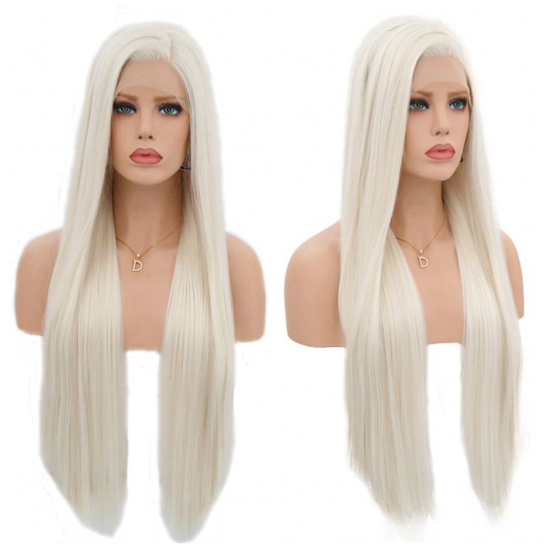 """JOY&BEAUTY 18"""" 26"""" Silky Straight Synthetic Lace Front Wigs #60 Blond 150% Density Heat Resistant Wigs With Natural Part Wig for-in Synthetic Lace Wigs from Hair Extensions & Wigs"""