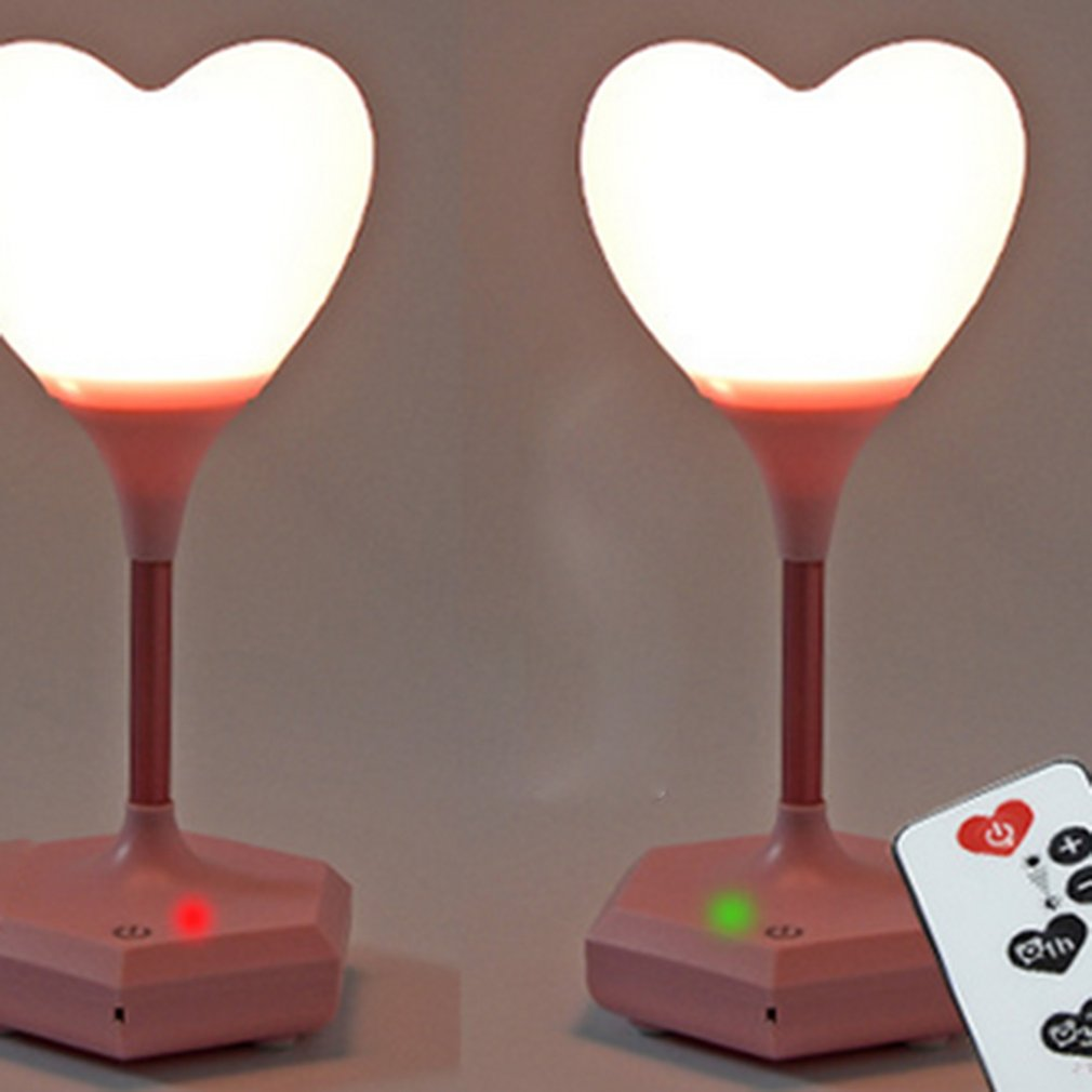 Romantic Design Heart Shape USB Rechargeable LED Lamp Night Reading Light Eye Protective for Bedroom