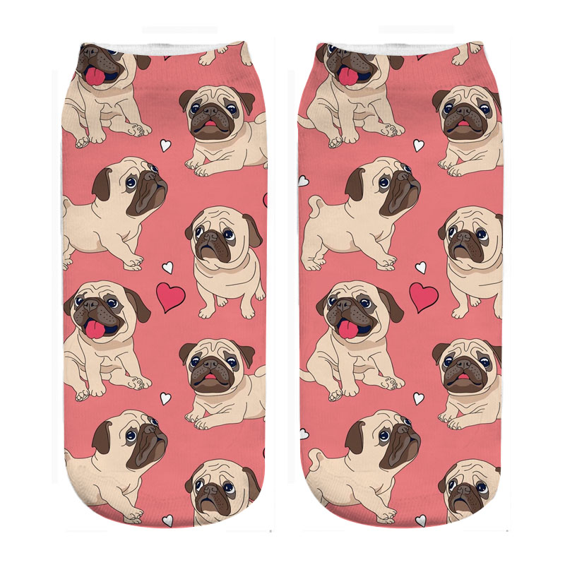 RUNNING CHICK Cute Pugs Socks Photo 3d Print Cute Wholesale