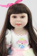 Fashion new style AMERICAN PRINCESS full vinyl 18 inch girl doll with black long hair baby alive bonecas toys for girls gift(China)