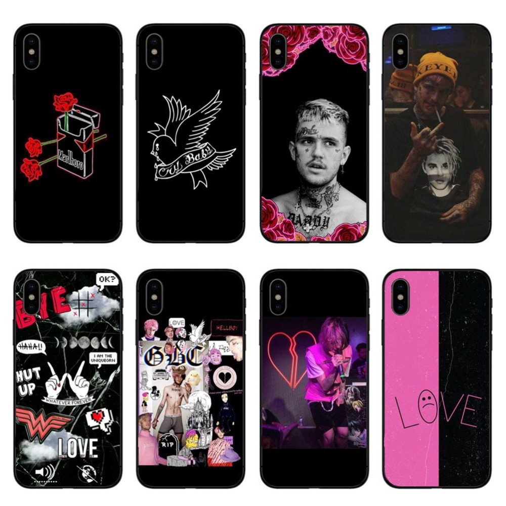 buy popular 287de 9b0fa Hot POP rapper Lil Peep High quality black Soft silicone Phone Cases cover  for iPhone 6 6s 7 8 Plus 5s se X10 XR MAX