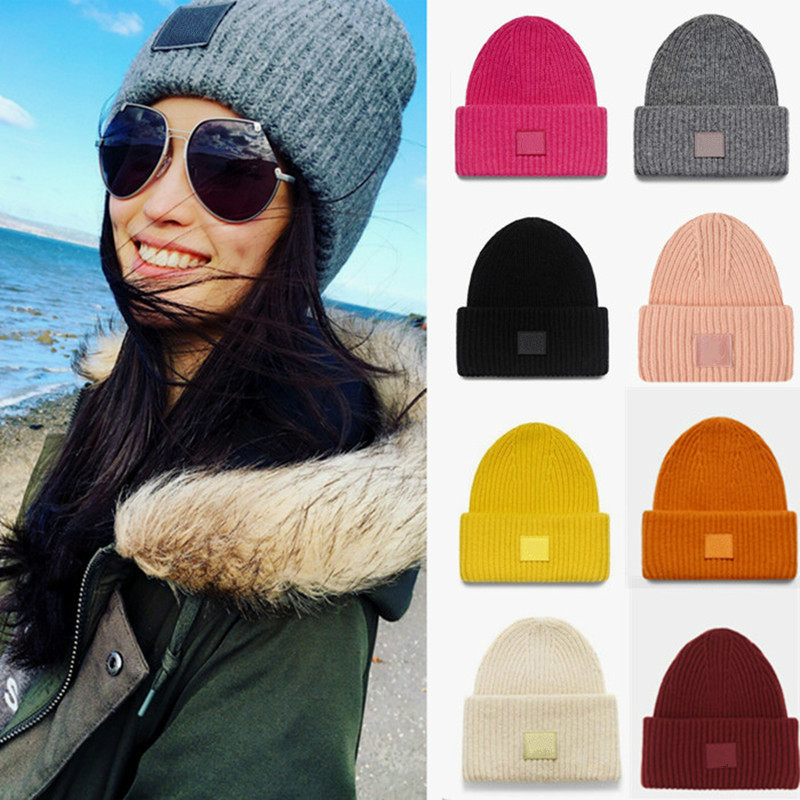 New Smiley 100%  Wool Hats  Knitted Wool Caps Thick Needles Wool Winter Hats Boys And Girls