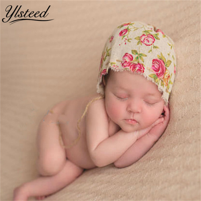 Vintage baby boy girl linen floral hat cheap newborn baby photo shoot props infant photo outfits