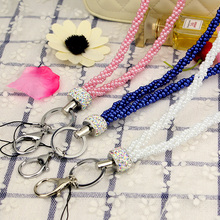2 PCS/Lot Rhinestone Universal Pearl Phone Strap Lanyard Neck Rope With Keychain For ID Card Mobile Cases Holder Women